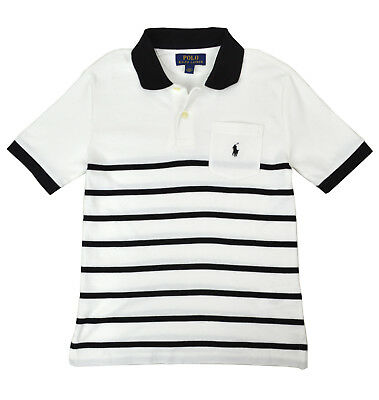 e40656c9d Polo Ralph Lauren Boys Kids White Black Striped Polo Shirt M Medium 10-12  9095