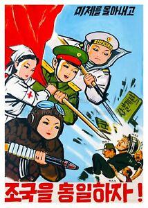 USA A3 #NK003 North KOREA Anti-American Propaganda Poster Print MISSILES