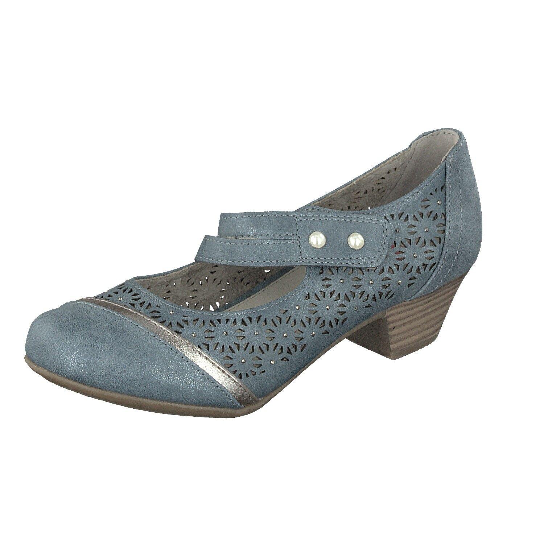 Relife Damen Schuhe Freizeit Pumps 8717-16710-27 mit Klettverschluss Jeans NEU