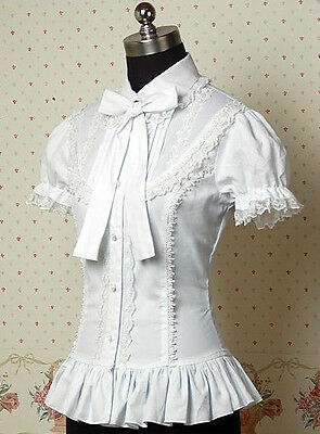 Ladies White Short Sleeve Sweet Gothic Lolita Princess Cosplay Blouse Shirt