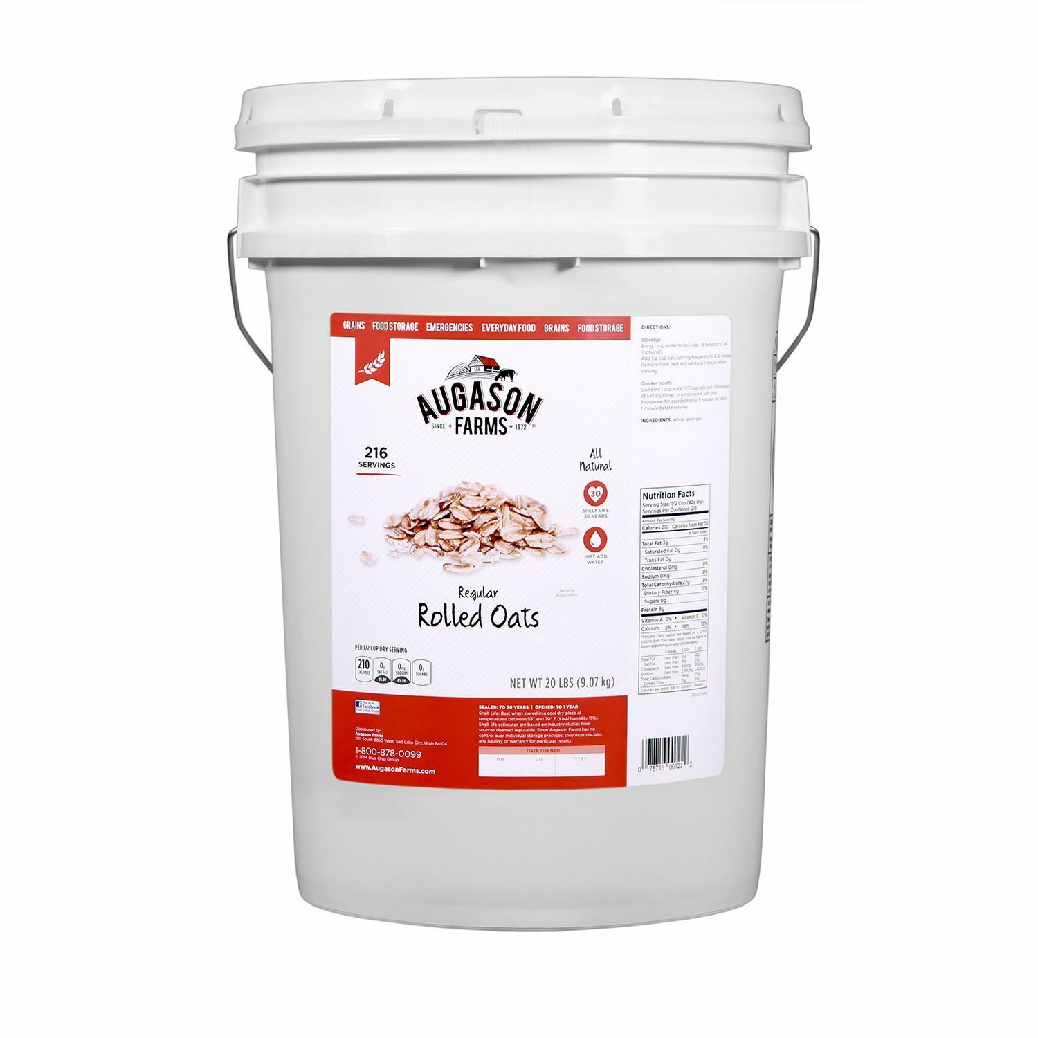 Augason Farms Regular Rolled Oats Emergency Survival Food Storage-20 lbs(NO TAX)