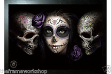 ANNE STOKES BLACK FRAMED DAY OF THE DEAD - 3D CULT PICTURE 465mm x 365mm