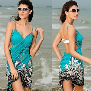 613ce051a3 Womens One Piece Bathing Bikini Swimwear Sarong Wrap Pareo Cover Up ...