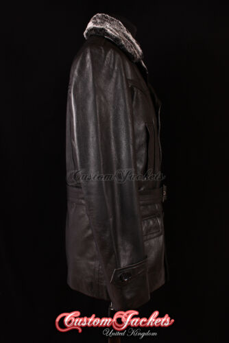 in vacchetta Cappotto pelle vera Collo in di vacchetta uomo Kriegsmarine tedesca di in da nera pelliccia pelle xYZqX