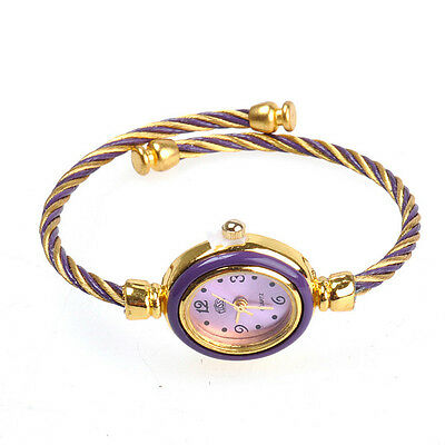 Fashion Girls Ladies Rope Bracelet Wrist Watch Purple and Gold