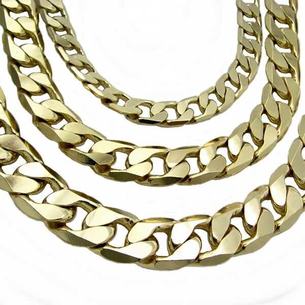 "Miami Cuban Link Chain Yellow 14k Gold Plated 7mm-12mm Hip Hop  24"" 30"" Necklace"