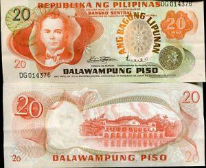 PHILIPPINES 20 PISO PESOS ND 1974 P 155 SIGN 8 aUNC