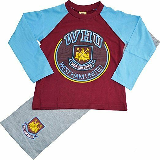 West Ham Utd FC Boys Kids Long Pyjamas Top Bottom Sleepwear Club Badge Official