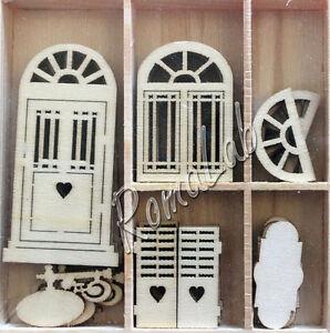 6 decorazioni legno porte e finestre in stile shabby chic ornamenti scrapbooking ebay - Porte stile shabby chic ...