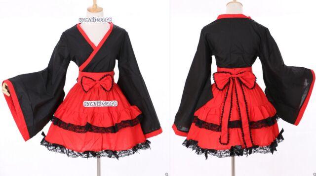 M-3131 schwarz rot Vocaloid Wa-Qi Lolita japan Kimono Cosplay Kostüm costume