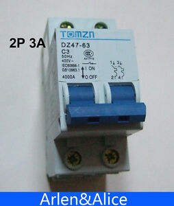 2P 3A 240V/415V 50HZ/60HZ Circuit breaker MCB safety breaker C type