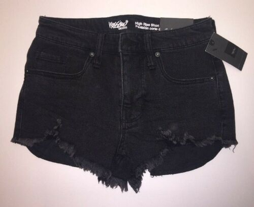 New w// Tags MOSSIMO WOMEN/'S High Rise Black Raw Hem Stretch Shorts Sizes Vary