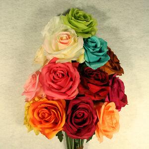 6-Open-Roses-Wedding-Rose-Silk-Flower-Choose-Color