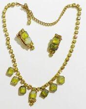parure ancienne RARE BIJOU VINTAGE collier boucle cristaux émeraude jaune 3259
