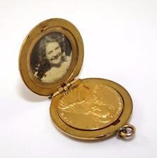 Victorian Antique Yellow Gold Filled Madonna Catholic Picture Locket Pendant QX