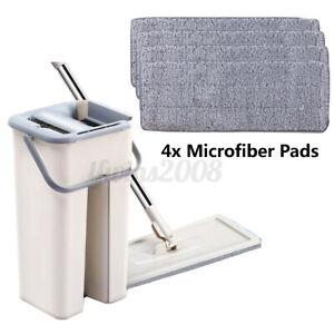 Auto-Spin-Mop-Balai-Seau-Magique-Clean-4X-Chiffon-en-Microfibre-Filant-Maison