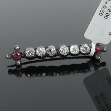 Antique 1800's 2.00ct Old Mine Cut Diamond & 0.50ct Ruby Silver & Gold Bar Pin
