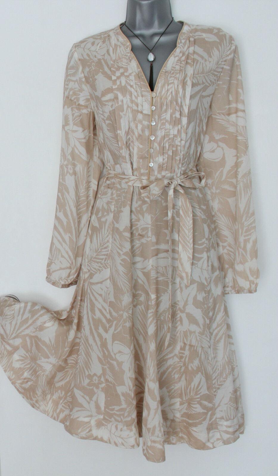 MONSOON Beige Floral Shirt Style Knee Length Long Sleeve Casual Dress 12 EU-40