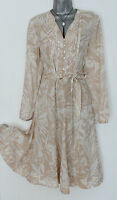 Monsoon Beige Floral Shirt Style Knee Length Long Sleeve Casual Dress 12 Eu-40