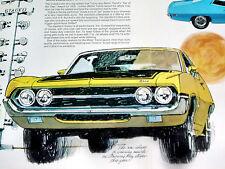 1970 Ford Torino Cobra Jet Original Ad 429 Cj V8doorhoodsteering Wheeldecal
