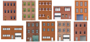 10 Strorefront Rear Side Flat Buildings for Backgrounds for O Scale Train Layout