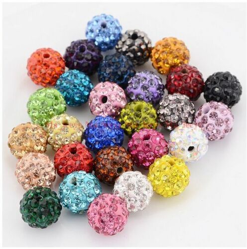100pcs//lot 6 mm 12 mm Mixed Micro Pave Disco Cristal Shamballa Perles Spacer Hot