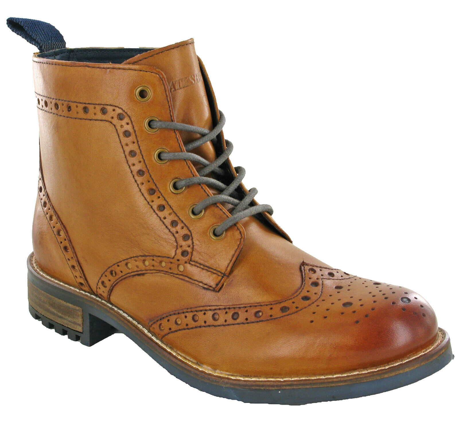 DERBY BROGUE LEATHER BOOTS MENS CLASSIC 6 EYE ANKLE SMOOTH PADDED UK 7-12