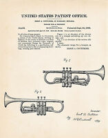 1918 Ernst Couturier Trumpet Drawing Gift Ideas Patent Art Print Drawing