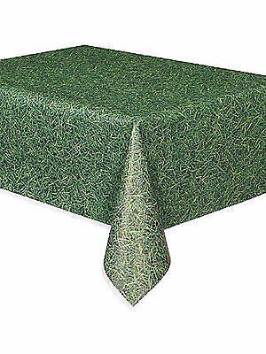 "Unique 54"" x 108"" Green Grass Disposable Plastic Tablecover"