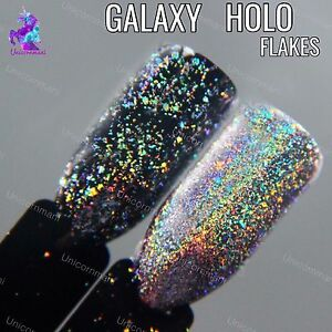 Galaxy Holo Flakes Chrome Flecks Unicorn Powder Holographic Nails Sequins Ebay