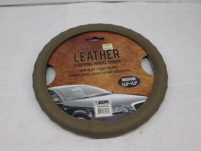 "BDK Genuine Leather Tan Steering Wheel Cover Medium 14 1/2""-15 1/2"" Universal"