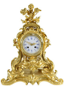 CARTEL-LOUIS-XV-Kaminuhr-Empire-clock-bronze-horloge-antique-cartel-pendule