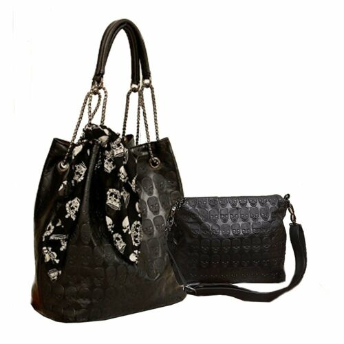 Womens Skull Print PU Leather Hobo Tote Shoulder Bag Package Handbag with Gift