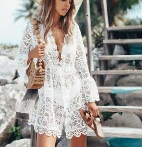 Womens-Swimwear-Bikini-Cover-Up-Beach-Wear-Kaftan-Summer-Lace-Dress-Long-Shirt