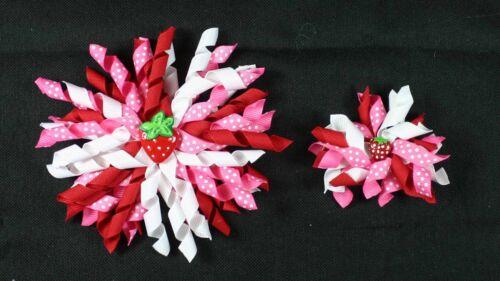 "3"" or 5"" Red\White\Hot Pink Dot\Strawberry Resin Korker Hair Bow UPICK"