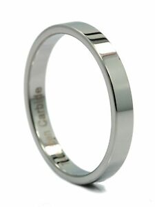 3, 4, 6, or 8mm Flat Pipe Cut Tungsten Carbide Mirror Polished Ring Band Size 10