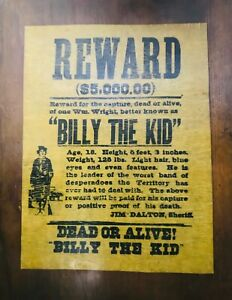 REWARD-5-000-00-BILLY-THE-KID-DOA-PARCHMENT-PAPER-ON-WOOD-14-1-2-034-X-11-1-2-034