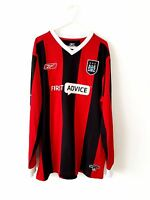 Manchester City Away Shirt 2004. Large. Reebok. Red Adults Long Sleeves Top Man.