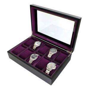 Astin-di-Londra-LUSSO-Java-10-in-legno-nero-Watch-Box-Case-con-interni-viola