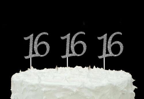 16th Birthday Cupcake Toppers Pailleté Argent-Pack de 10-numéro 16