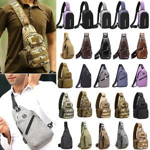 Mens-USB-Charging-Port-Shoulder-Bag-Crossbody-Sling-Chest-Pack-Satchel-Messenger