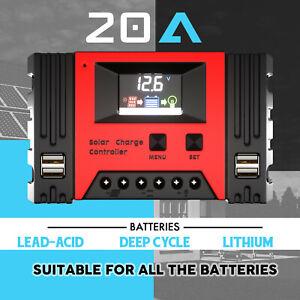 20A Solar Charge Controller 12V 24V Lithium Battery Panel Regulator 4 USB LCD