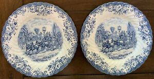 Johnson-Brothers-Ironstone-England-Blue-Coaching-Scenes-10-034-Dinner-Plates-x2