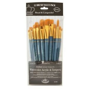 Royal-And-Langnickel-Rset-9306-Taklon-Variety-Brush-Set-Medium-Gold-pack-Of