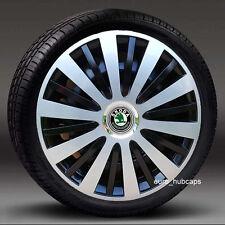 "Silver/Black 14"" Silver wheel trims, Hub Caps, Covers to fit Skoda Fabia"