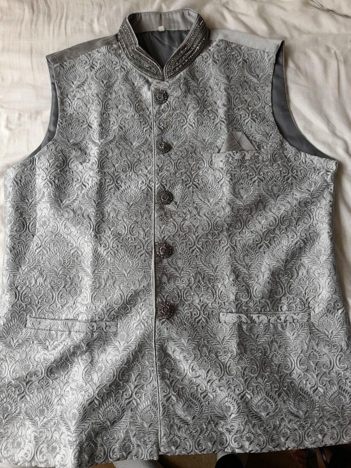 Mens Asian Indian Pakistani Wedding Eid Mehndi Party Waistcoat Grey Silver 42