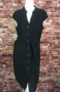 a08bb619ff0 212 COLLECTION Black Belt Button Down Linen Rayon Blend Shirt Dress ...