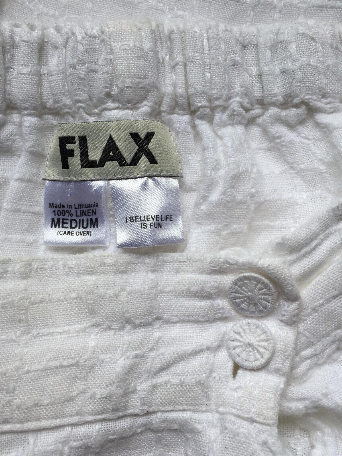 FLAX Engelhart White Cropped Capri LINEN Wide Leg… - image 2