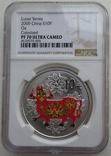 NGC PF70 FD China 2019 Lunar Pig Year Zodiac Round Silver Coin 30g 10 Yuan COA