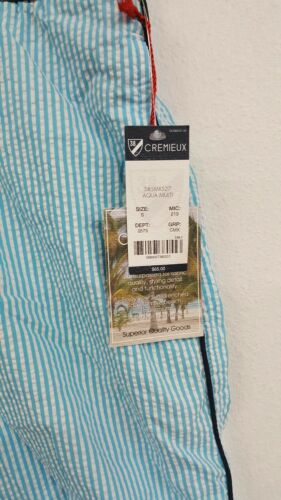 Daniel Cremieux Aqua White Striped Trunks Men/'s Swimwear NWT $65 Choose Size